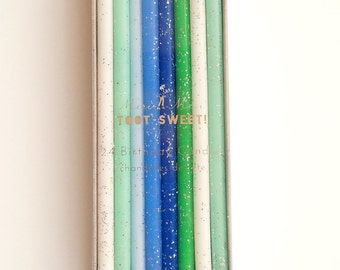 Ombre Blue, Green Silver Glitter Birthday Cake Candles- 24 ct.