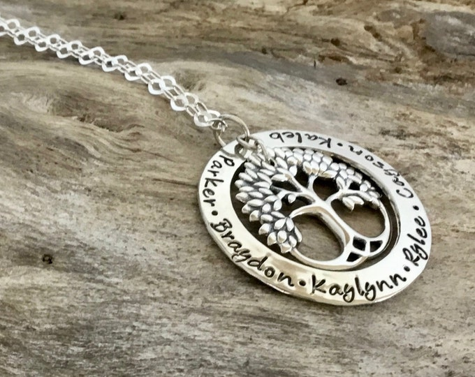 Personalized Family Tree Necklace   Hand Stamped Jewelry   Family Tree Mothers Necklace   Mothers Jewelry, Mommy Jewelry, Mothers Day Gift