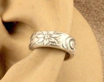 Wide Ear Band - Sterling Silver Cartilage Earring - Cartilage Cuff - Ear Cuff - Gift Under 10 - Daisy Floral Swirl Pattern