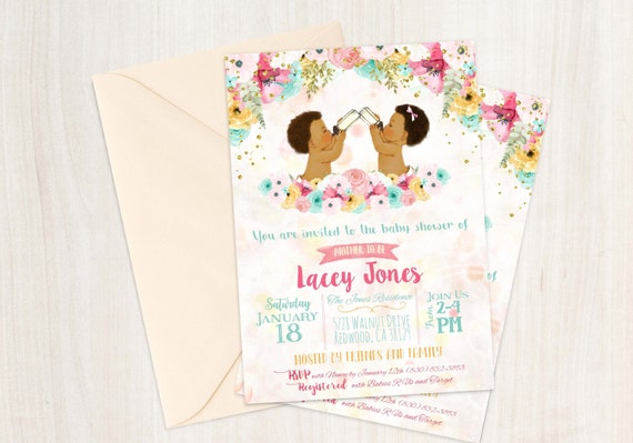 Boy and Girl Twins, African American Vintage Baby Shower Invitations, Baby Shower, Printable Baby Shower Invitations, Twins, Teal, Pink 001
