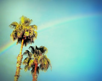 Palm Trees and Rainbow in Los Angeles, California. California Photography. Los Angeles Photography. LA Photo. LA Art