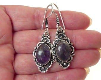 Bohemian Amethyst Earrings, Silver with Amethyst Gemstone Earrings, Amethyst Dangle Earrings - SE-GSP358