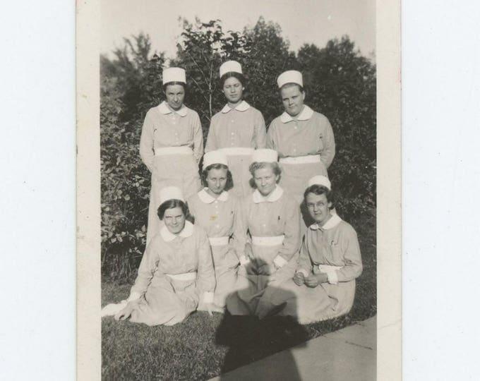 Vintage Snapshot Photo: Nurses, Photographer Shadow, c1940s (73554)