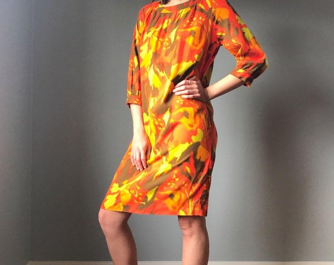 Vintage 60s Mod Orange Watercolor Dress