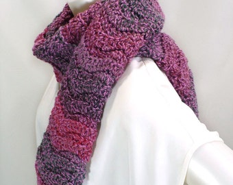 Pink Striped Chevron Scarf, Crochet Ripple Scarf, Hand Made Scarf in Pink and Purple Ombres, Ready to Ship