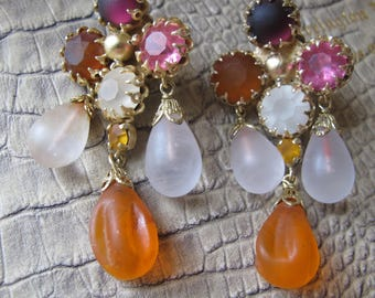 GLASS Girandole 1980's Clip Back Earrings. STATEMENT Size & Colors.Chandelier Big Bold Earrings. Poured Glass Costume Jewelry.Designer Style