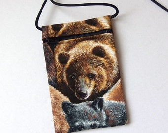 Pouch Zip Bag BEAR Fabric. Great for walkers, markets, travel. Cell Phone Pouch. Small fabric purse. Brown Bear. Grizzly Bear cross body bag