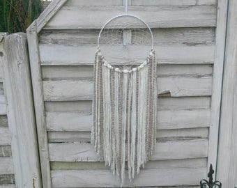 Boho Wedding Dreamcatcher white beige with yarn falls, wedding decoration, wallhanging homedecor