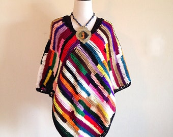 Vintage Colorful Crochet Hippie Poncho 1970s