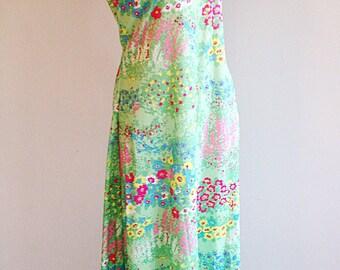 Vintage Green Floral 1970s Maxi Dress