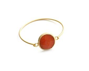 Round Otange Jade Gold Plated Cuff Bracelet