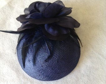 Navy Derby Fascinator hat, Mini Pillbox Hat,  Navy Wedding Hats, Navy Cocktail hat for High Tea Party, Races, Church and Special Occasion
