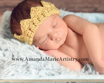 Baby Boy Crochet Crown, Adjustable Prince Baby Boy Crochet crown  Baby Boy Crown Photo Prop Baby Shower Gift