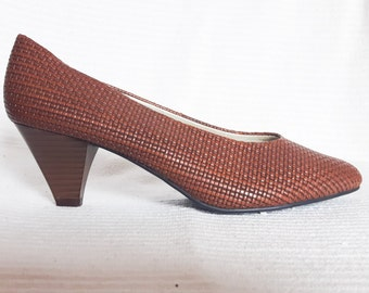 Vintage 70s Brown Leather Woven Shoes - Leather Weave Pumps - Romeo Bettini - US 8.5, UK 6, EU 39
