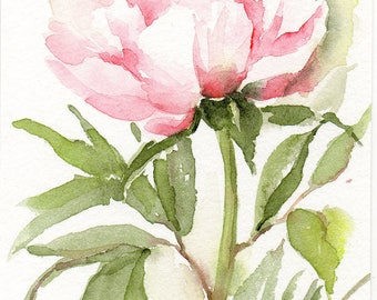Original watercolour painting 4x6  Peony painting Small format spring flowers pink peonies pink flowers peony painting peony watercolor