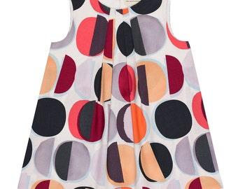 Large Lozenges Watercolour Print Handmade 'Mini Me' Little Girls Pleated Front Beatrice Shift Dress