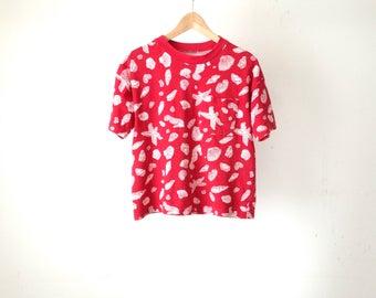 vintage BOXY red 90s SEASHELL pocket summer sun beach t-shirt boxy top