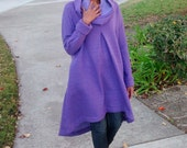 Purple Sweatshirt Dress ~ Slouchy Cowl Neck Sweatshirt Dress / Coat - Funky Cozy Over Sized Hooded Asymmetrical Fleece Pull Over Coat - S-6X