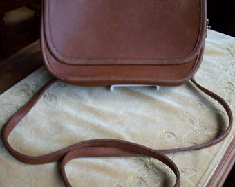 Vintage Brown Leather Coach Saddle Bag Purse Crossbody Circa 1990s
