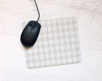 Houndstooth Mousepad in Sand - Bold, Modern, Graphic, Classic, Simple Design For the Home or Office, Gift, Holiday, Winter - Pick Your Color
