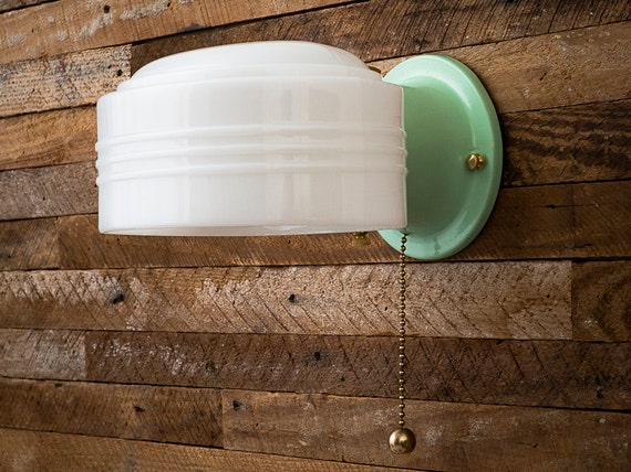 Farmhouse Vintage Rewired Jadeite Green Sconce Wall Light