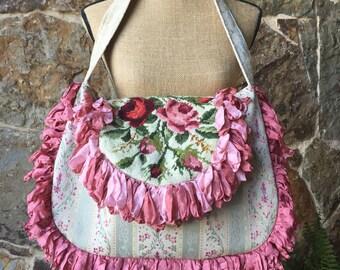 Vintage Rose Needlepoint Shabby Chic Romantic Handbag