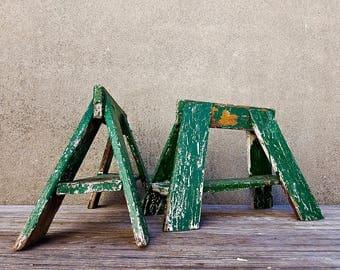 Vintage Architectural Chippy Green Sawbucks Sawhorses