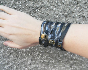 Black leather wrist cuff bracelet Steampunk art cuff Gothic bracelet Hand painted leather bracelet in bronze and silver Wide leather armband