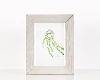 Botanical original painting, wall art, home decor, one of a kind art, vintage jewelry and floral art, affordable wall art, green and white
