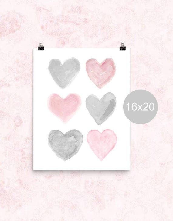 Pink and Gray Nursery Poster, 16x20, 12x16
