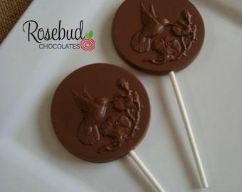 12 Chocolate Hummingbird Lollipops Birds Wedding Birthday Bridal Shower Favors Candy