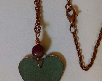 Bangor Public Library Copper Roof Small Heart Necklace With Faceted  Ruby-in-Zoisite GemstoneLimited Edition RM