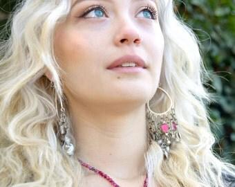 silver earrings, tribal chandelier earrings, gypsy earrings, hoops, long dangly earrings, afghan india banjara kutch tassel jewelry