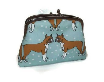 Kiss lock wallet - Cute boxer Dog purse in mint green, 2 compartments in white, wiggle butt doggie bag, pet pooch pouch, canine clutch