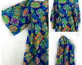 Vintage 60's Neon Bright Hawaiian Dress Woman's Medium Midi Barkcloth Muumuu Kimono Sleeves Hippie Quilt Pattern Party Dress