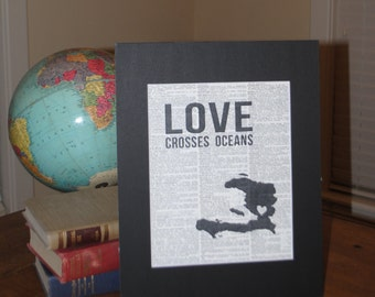 Love Crosses Oceans (Haiti) - Vintage Adoption Word  Art