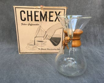 "60's Chemex 11"" LARGE 14-Cup Coffee Maker Glass and Wood and Glass Carafe Glass Decanter, Coffee Beaker with OG Filters in the Box"