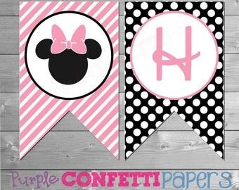 Minnie Mouse Birthday Banner, Minnie Birthday Banner, Printable Minnie Mouse Banner, Printable Minnie Banner, Minnie Mouse Party Printables