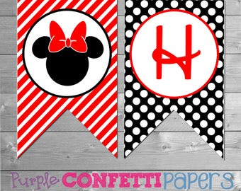 Minnie Mouse Birthday Banner, Minnie Birthday Banner, Printable Minnie Mouse Banner, Printable Minnie Banner, Minnie Mouse Party Printables