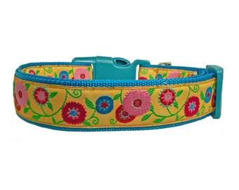 "Flower Dog Collar 1"" Blue Dog Collar"