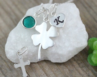 STERLING Silver Clover Necklace personalized with Birthstone-SHAMROCK, Four Leaf Necklace, Good luck Irish jewelry, Gift ideas