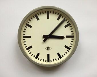 """14"""" Diameter Vintage German Industrial wall clock from TN. 1960s. Gray Metal Rim. Made in Germany. 2017-009"""
