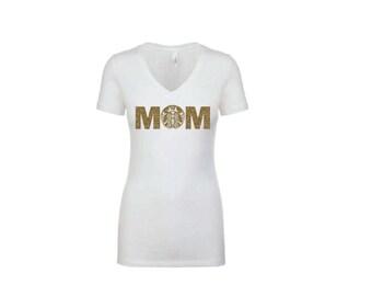 MOM Coffee Skull Shirt - Womens T-Shirt. Long Length Tee. Black, White, Green