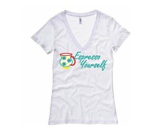 Espresso Yourself Shirt - Floral Mug- Womens V-Neck T-Shirt. Long Length Tee. Black, White, Grey