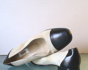 Talbots Made in Italy Linen & Leather Pumps Size 8.5M