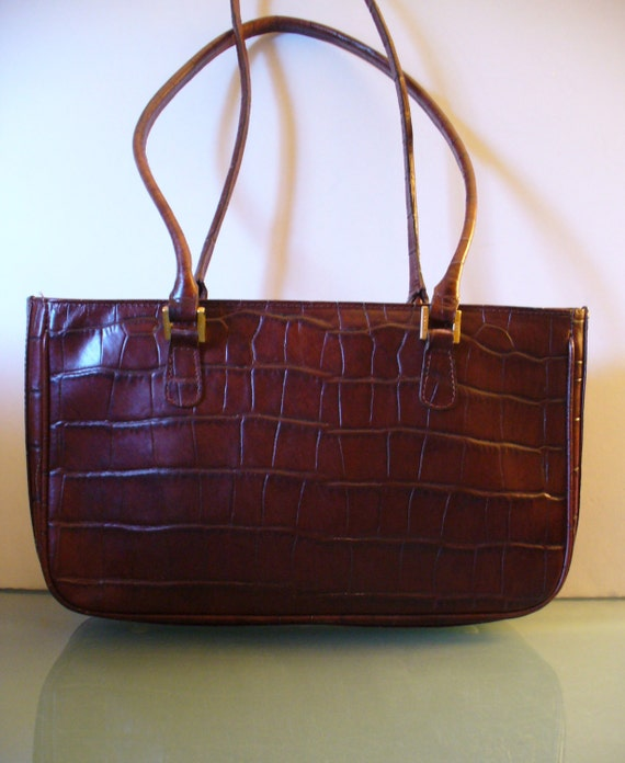 I Santi Made in Italy  Croc Leather Tote Bag
