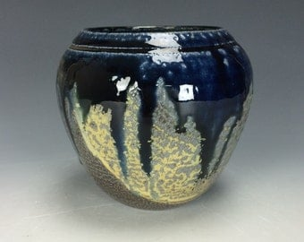 Blue Yellow and Spotted Brown Ceramic Vase, Modern Home Decor, Unique Clay Bud Vase, Salt Fired Vessel, Orange Peel Texture