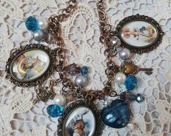 Follow the white rabbit. Altered art Alice in Wonderland bracelet.