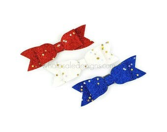 """New! Red White Blue Glitter Bows - 3.5"""" Shimmery Bow with Long Tails - Single Loop DIY Bows Headband Hair Clip Silver and Gold Stars 3 Bows"""