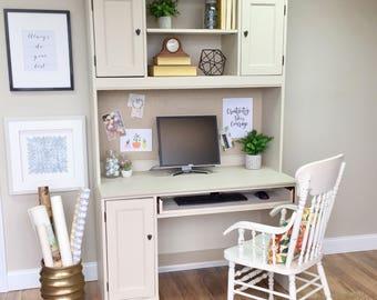 Hutch Desk - White Desk with Hutch - Home Office Furniture - Hooker Furniture Desk - Computer Desk with Hutch - Distressed Furniture